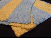 yellow and blue blanket
