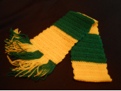 Green and yellow block scarf