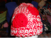 Red Hearts on Red and White Loom Hat