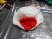 Red Heart on White Hat