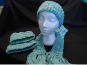 Seafoam Ear Warmer/Boot Cuffs and Scarf - set