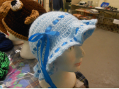Blue Bonnet With ribbon Adornments