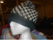 Green and Cream Checkered Hat