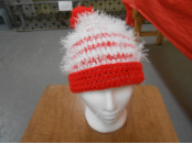 Red and White Striped Fuzzy Hat